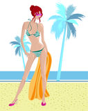 Ilustración de la muchacha de la playa stock de ilustración