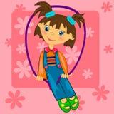 Ilustración de la muchacha del cabrito playing.sport Imágenes de archivo libres de regalías