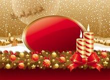 Ilustración de la Navidad con las velas, el arqueamiento y el marco Fotos de archivo