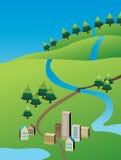 Ilustración de la pequeña ciudad del verde del verano Fotografía de archivo libre de regalías