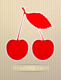 Ilustración de la postal del saludo de la cereza Foto de archivo libre de regalías
