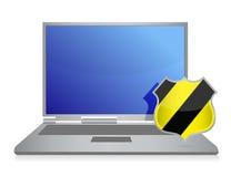 Ilustración de la protección del ordenador del blindaje del virus Fotografía de archivo