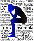 Ilustración de la psicología del hombre en estado deprimido Fotografía de archivo