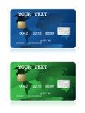 Ilustración de la tarjeta de crédito azul y verde Fotos de archivo libres de regalías