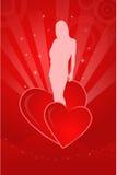 Ilustración de la tarjeta del día de San Valentín con la silueta de una muchacha Imagen de archivo