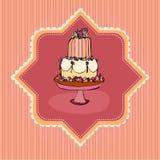 Ilustración de la tarjeta retra de la torta de boda Foto de archivo