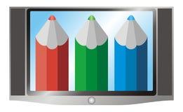 Ilustración de la televisión (aparato de TV) Y del rojo, verde Imagen de archivo