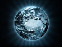 Ilustración de la tierra con efecto del rayo stock de ilustración