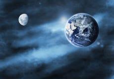 Ilustración de la tierra y de la luna Foto de archivo