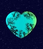 Ilustración de la tierra y del corazón ilustración del vector