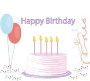 Ilustración de la torta de cumpleaños Imágenes de archivo libres de regalías