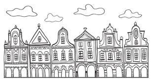 Ilustración de las casas adornadas viejas de la aldea
