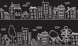 Ilustración de las casas y de los edificios - inconsútiles Foto de archivo