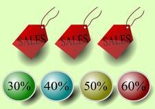 Ilustración de las etiquetas y del descuento de las ventas Foto de archivo