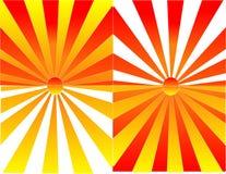Ilustración de las reflexiones de la salida del sol y de la puesta del sol Imagen de archivo libre de regalías