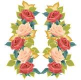 Ilustración de las rosas y de las hojas stock de ilustración