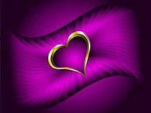Ilustración de las tarjetas del día de San Valentín de los corazones del oro Imagen de archivo libre de regalías