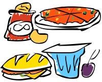 Ilustración de los alimentos de bocado   Fotos de archivo