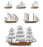 Ilustración de los barcos de vela y de las naves Fotografía de archivo libre de regalías