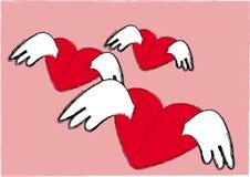 Ilustración de los corazones del rojo del vuelo Fotografía de archivo
