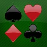 Ilustración de los cuatro juegos de la tarjeta en fondo Imagenes de archivo