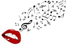 Ilustración de los labios rojos que cantan Foto de archivo