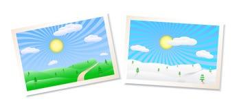 Ilustración de los paisajes del invierno y del verano Imágenes de archivo libres de regalías