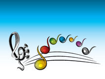 Ilustración de los símbolos del color de la música stock de ilustración