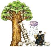 Ilustración de ovejas y del pastor lindos ilustración del vector