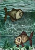 Ilustración de pescados muertos y del agua contaminada Imagenes de archivo
