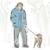 Ilustración de un hombre y de un perro. Fotografía de archivo