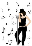 Ilustración de un micrófono y de una muchacha que cantan stock de ilustración