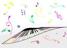 Ilustración de un piano y de las notas de la música foto de archivo