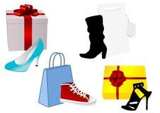 Ilustración de un poco de presente y bolso con el zapato ilustración del vector