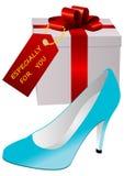 Ilustración de un presente y de un zapato de la señora stock de ilustración