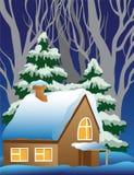 Ilustración de una aldea nevada. Imagen de archivo