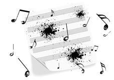 Ilustración de una música-hoja del grunge en blanco stock de ilustración