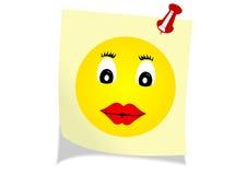 Ilustración de una nota amarilla con una cara feliz libre illustration
