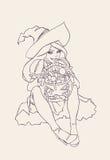 Ilustración de Víspera de Todos los Santos bruja Imagen de archivo libre de regalías