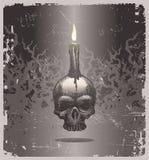 Ilustración de Víspera de Todos los Santos con el cráneo y la vela ilustración del vector