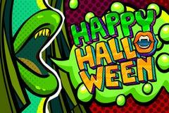 Ilustración de Víspera de Todos los Santos Abra la boca verde con los colmillos y el mensaje del feliz Halloween en estilo del ar stock de ilustración