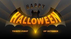 Ilustración de Víspera de Todos los Santos Silueta del palo con el saludo tridimensional de Halloween ilustración del vector