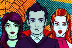 Ilustración de Víspera de Todos los Santos Vampiros y bruja Ilustración del vector libre illustration