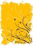 Ilustración decorativa floral del vector del fondo del grunge abstracto stock de ilustración