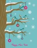 Ilustración del Año Nuevo con los pájaros y la bola stock de ilustración