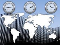 Ilustración del asunto con la correspondencia y el reloj de mundo Imagenes de archivo