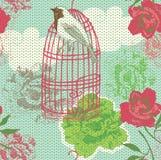 Ilustración del birdcage, flores ilustración del vector