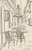 Ilustración del bosquejo del café de la calle. ilustración del vector