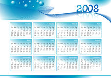 Ilustración del calendario por 2008 años Imagen de archivo libre de regalías