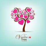 Ilustración del corazón del color de rosa del árbol del día de tarjeta del día de San Valentín Foto de archivo libre de regalías